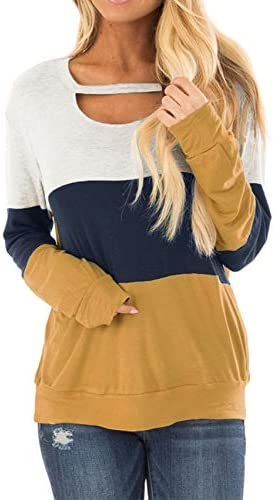 Topstype Women's Long Sleeve Tunics Color Block Cutout Sweatshirt Loose Fit Tops