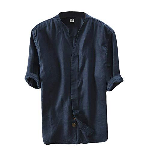 Leinen Hemd Herren Kurzarm Sommerhemd V-Ausschnitt Freizeit Hemd Regular Fit Kragenloses Shirt Tops Blau S