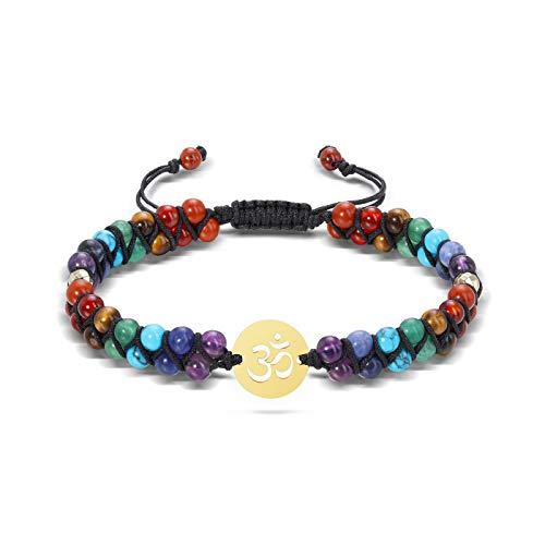 JSDDE 7 Chakra Gemstone Bracelet Reiki Healing Crystal Chakra Stone Braided Bracelets for Women Yoga Meditation Balancing (OM Charm)