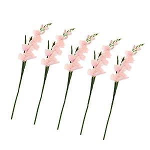 Kloware 5Pack Artificial Gladiolus Flowers for Wedding DIY Flower Art Plant Home