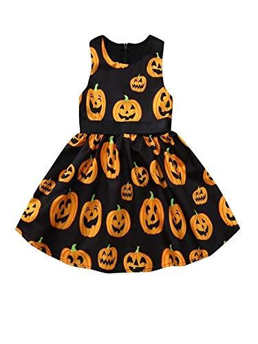 Vestido de Princesa Nia,Bebe Calabaza de Dibujos Animados de Nia de Halloween para Nios Pequeos Vestido Vintage de Manga Larga Falda Corta Riou