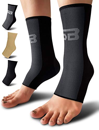 SB SOX Compression Ankle Brace Pair – Great Ankle Support That Stays in Place – For Sprained Ankle and Achilles Tendon Support – Perfect Ankle Sleeve for Sports Any Use Black/Gray Medium