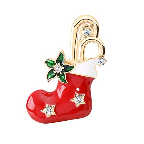 Demarkt Christmas Brooch Xmas Gift for Christmas Decoration Ornaments 4*2.4cm red