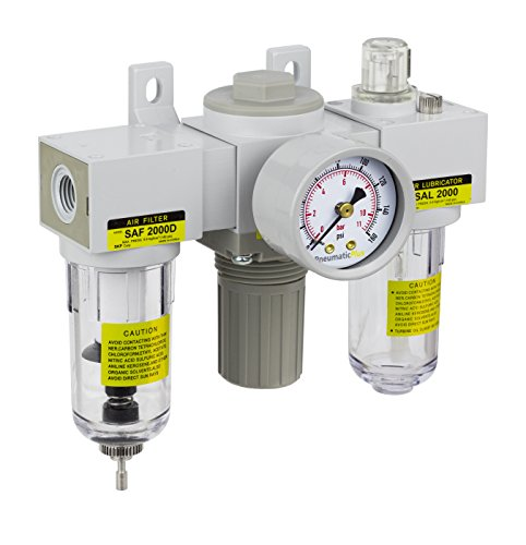 PneumaticPlus SAU2000M-N02G Mini Three-Unit Combo Compressed Air Filter Regulator Lubricator FRL, Air Preparation Unit 1/4