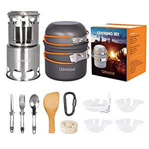 Qdreclod Camping Cookware Mess Kit Camp Cook Set with Outdoor Camping Stove, Lightweight Alloy Backpack Cooking Set Non Stick Camping Pot and Pans Set,Stainless Steel Foldable Spoon Fork Knife