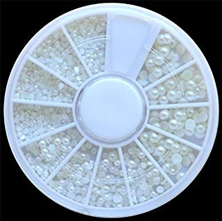Fan-Ling White Pearl Nail Art Stone,Different Size Rhinestones Beads in one Wheel, Diamonds Dazzling Tips Nail Sticker Sequins Colorful Nail Art Decoration (A)