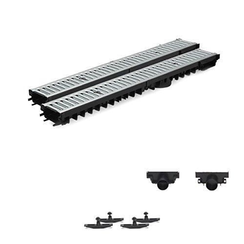 2m Entwässerungsrinne Terrassenrinne Stahlrost verzinkt komplett SET, System A15 70mm, NEUHEIT Rinne mit integrierter Dichtung Klick System