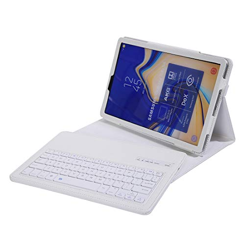 MFENG STORE SA830 Bluetooth 3.0 Litchi Texture Detachable Bluetooth Keyboard Leather Case for Samsung Galaxy Tab S4 10.5 inch T830 / T835, with Holder (Color : White)