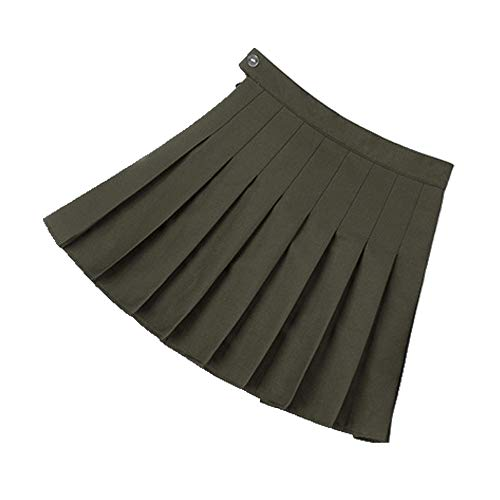 U/A Rock Mädchen A Gitter Kurz Kleid Hohe Taille Plissee Tennis Rock Uniform mit Innenshorts Unterhose für Badminton Cheerleader Gr. 40, grün