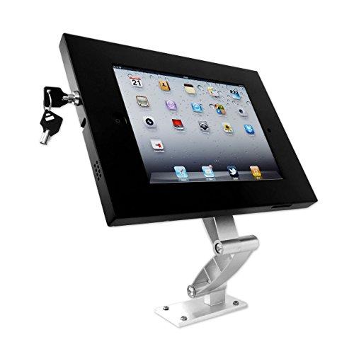 XOXXOX TECH Wandhalter und Tischhalter schwenkbar und rausziehbar für iPad 1 2 3 4 Air Air 2 mit Aluminium Gelenken und Diebstahlschutz Gehäuse mit Appstop Funktion sytlisch in Silber Schwarz auch als Kassensystem geeignet