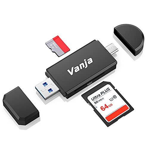 Vanja USB 3.0 Kartenleser, USB Typ C/Thunderbolt 3 SD/MicroSD Speicherkartenleser OTG Adapter für MacBook Pro, MacBook, iMac, Samsung S10/S9/S8, Huawei P30/P20/P10/Mate 20/10 und mehr