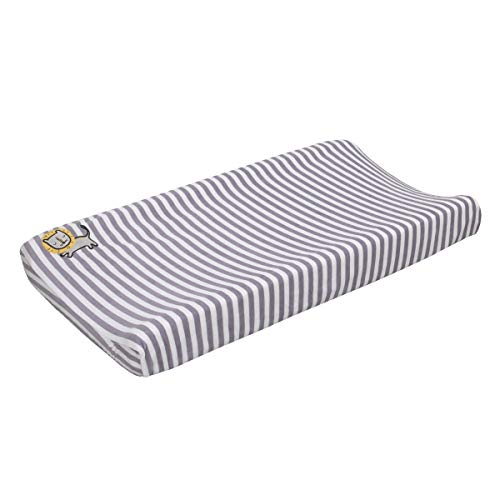 Little Love By Nojo Roarsome Lion, Grey, White Stripe Plush Changing Pad Cover With Yellow Lion Applique, Grey, White, Yellow