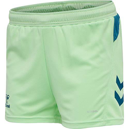 HUMMEL Womens 210990 Shorts, GREEN ASH/BLUE CORAL, XL