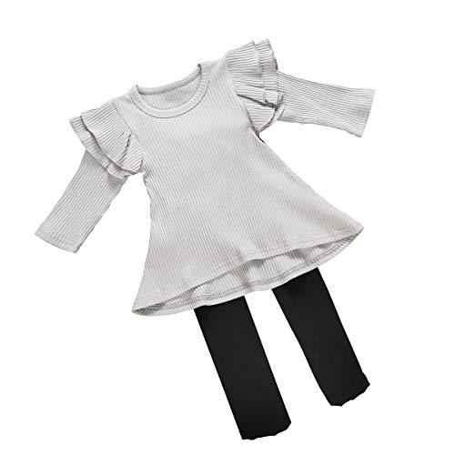 Aisheny 1-5T Niños Bebé Niña Traje de Manga Larga Traje de Cola de Golondrina con Volantes Top Camisa+Pantimedias Gris + negro 12 meses