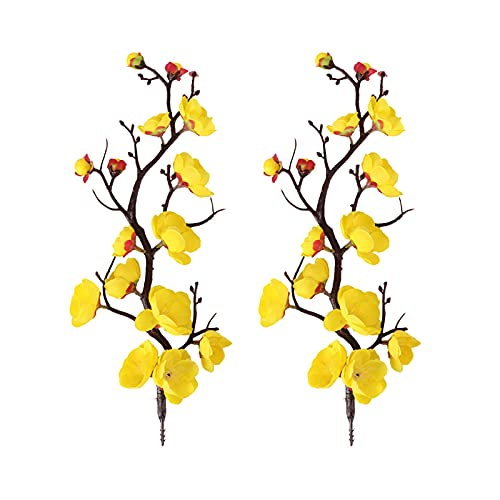 AUPSU 12 flores artificiales rojo/blanco/rosa, flor de cerezo, Pro 11 pulgadas/28 cm, ramas de melocotón, seda alta, arreglos de flores falsas, para decoración de centros de mesa de boda en el hogar