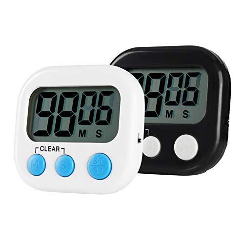 Jsdoin Timer da Cucina, Magnetico Digitale Timer da Cucina con Allarme Forte e Ampio Display LCD, 2 Pezzi