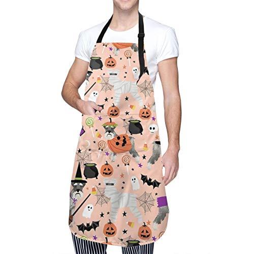 Schnauzer Disfraz de raza de perro de Halloween lindo regalo para otoño adulto impermeable Oxford delantal con bolsillos para hombres y mujeres ajustable babero delantal de cocina