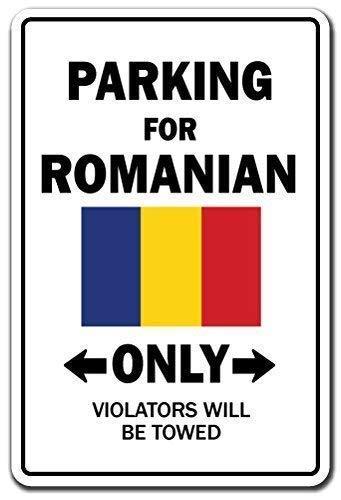 BDTS Metalen waarschuwingsbord 8x12 inch Teken Grappig Teken Gift Parking voor Roemeense Alleen Nationale Trots Teken Roemenië Vlag Nationale Trots Liefde Decoratie Outdoor Metaal Aluminium Teken Wandplaat Decoratie