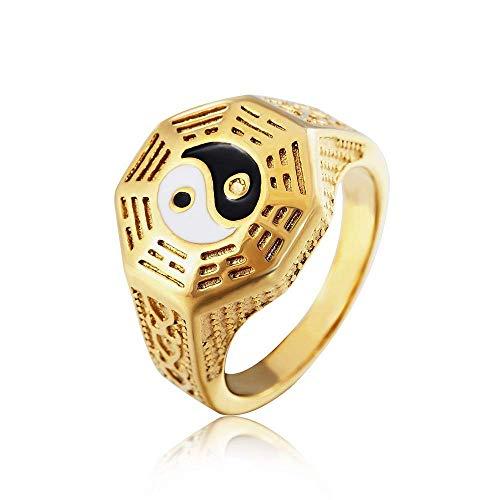 FashionGossip Yin Yang símbolo anillos para hombres oro acero inoxidable amuleto anillo hombre dedo bandas joyería regalo