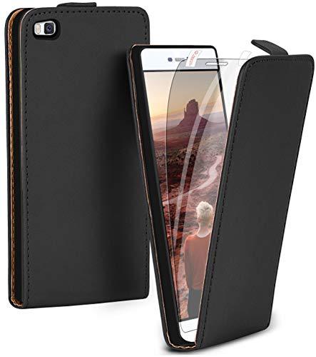 moex Flip Hülle mit Schutzfolie für Huawei P8 - Handytasche klappbar, Schwarz