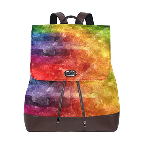 Schulrucksack, Art Colorful Painting Travel Backpack Leather Handbag School Pack