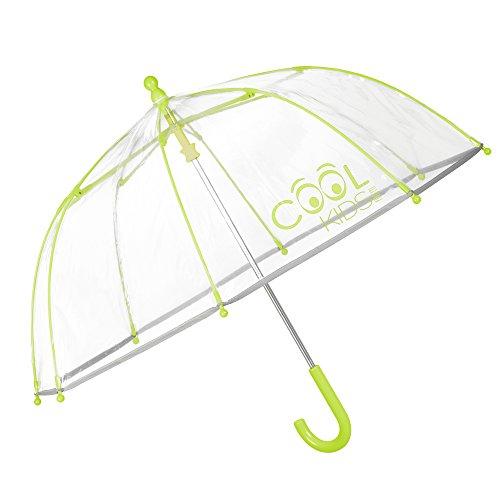 PERLETTI 15530 Regenschirm Robust und Windfest für Jungen - Kinderschirm Transparent mit Details Apfelgrün Grün Gelb und Reflektierendem Rand - 3 bis 6 Jahre - Durchmesser 64 cm
