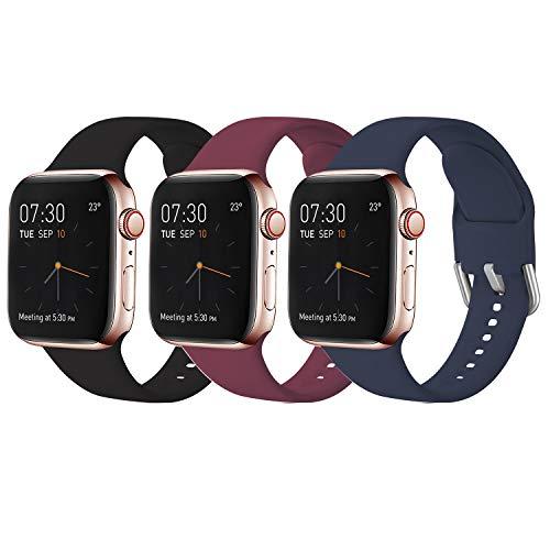 Sichy Correas Compatible con Apple Watch 38mm 42mm 40mm 44mm, Correa de Silicona Suave de Repuesto Compatible con iWatch Series 6, 5 4 3 2 1, SE, 38mm/40mm-M/L,3 Pack