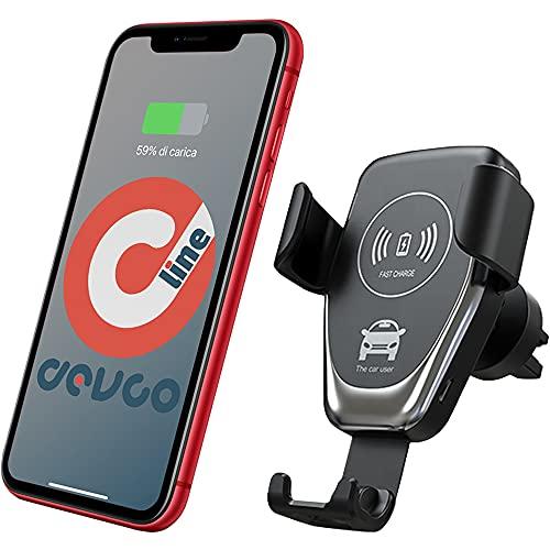 Caricatore Wireless Auto Supporto telefono con carica wireless per auto ricarica wireless auto per iPhone da 10W con cavo USB – DEVCOline - AT CW CAR1
