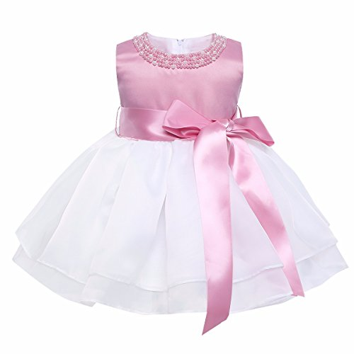 YiZYiF Baby Mädchen Kleid Taufkleid Festlich Kleid Hochzeit Partykleider Kleinkind Kinder Kleidung Organza Festzug für 3 Monate - 3 Jahre Weiß & Rosa 62-68
