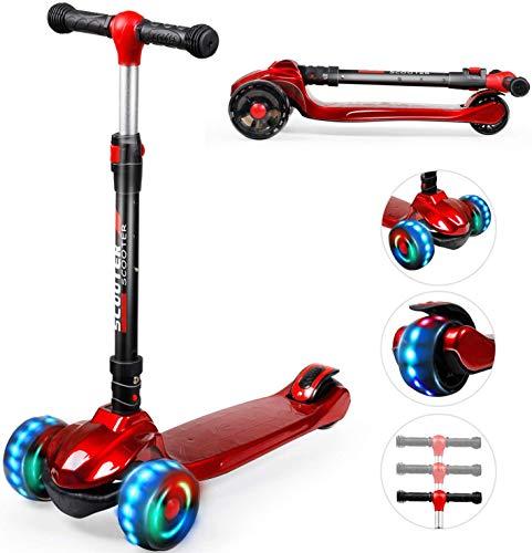 Kinder Roller Scooter, Rollerkinder, Kinderscooter, Kinderroller mit 3 LED-Rädern, Geeignet für Jungen und Mädchen, Faltbar und Höhenverstellbar, Kinderscooter für Kinder von 2 bis 10 Jahren