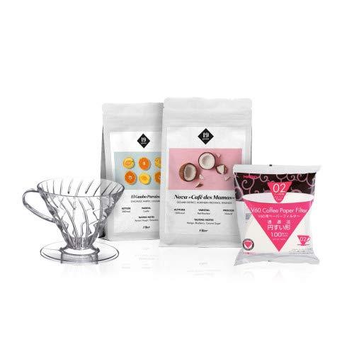 19grams Kaffeerösterei | 2x 250g | Homeoffice Kaffee Set Filterkaffee | V60 & Filter | 2x 250g ganze Bohnen | frisch geröstet | 100% Arabica Kaffeebohnen | specialty coffee