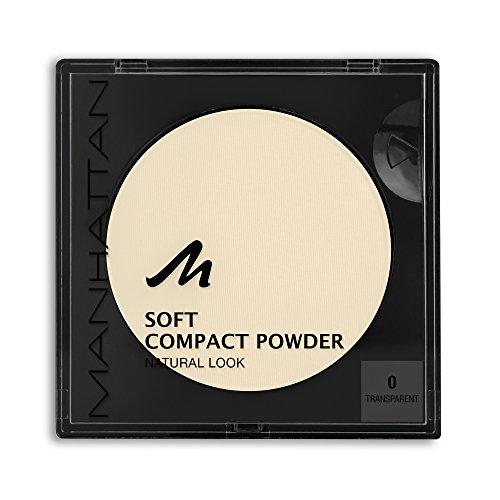 Manhattan Soft Compact Powder, Helles Kompakt Puder mit Puderquaste für einen matten, ebenmäßigen Teint, Farbe Transparent 0, 1 x 9g