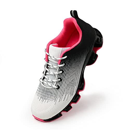 JOMIX Scarpe Donna da Corsa Running Ginnastica Tennis Sneakers Sportive Leggere Comode Chiusura a Lacci Suola Ammortizzata a Molle SD2655 (01 Bianco Nero Fuxia, 36)