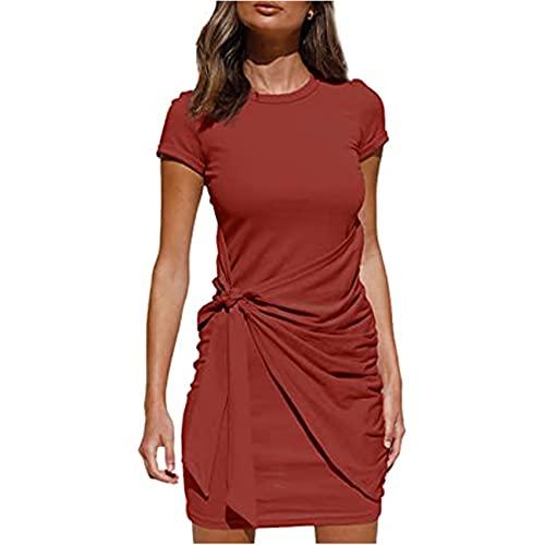 Vestido Irregular Manga Corta Cuello Redondo CinturóN De Lazo Plisado