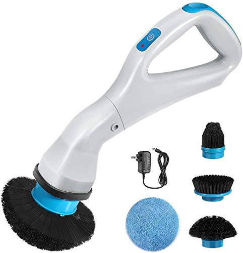 Electric Spin Scrubber, Power Scrubber Cordless High Rotation Handheld Bathroom Scrubber Rechargeable with 4 Replaceable Cleaning Brush Heads for Cleaning Tub, Tile, Floor, Sink, Wall, Window