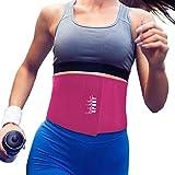 Nicole Miller Waist Trainer for Women 10' Sweat Belt Waist Trimmer Stomach Slimming Body Weight Shaper Exercise Equipment Adjustable Belt - Pink