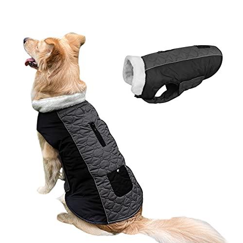 COUNER Dog Coats Dog Winter Jackets Thick Padded Reversible Coat Dog Cold Weather Coats Adjustable Elastic Hook & Loop Closure Dog Coats for Medium Dogs Dog Jacket for Medium Dogs French Bulldogs M
