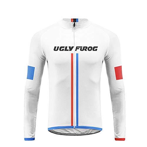 Uglyfrog Fahrradtrikot Herren Langarm Radtrikot Winter Fahrradshirt Herren Atmungsaktiv mit Taschen FLNL02