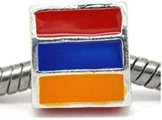 One 3 Sided Triangle Armenian Flag Charm Spacer for Snake Chain Charm Bracelet DIY Crafting by Wholesale Charms