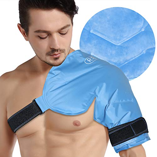 REVIX XL Schulter-Eisbeutel für Rotatorenmanschette Wiederverwendbare Gel Kaltwickel für Schulterverletzungen und Operationen, Weiches Plüschfutter, flexibel und langlebig
