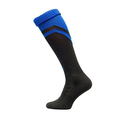Nessi S Chaussettes de football 100 % thermorégulantes Bleu/Noir 42-44