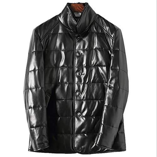 Hojkl Nieuwe Heren Down Jacket Lederen Jas Top Leer Winter Warm Slanke Down Jas Gecapitonneerde Waterdichte Top Warm Jas