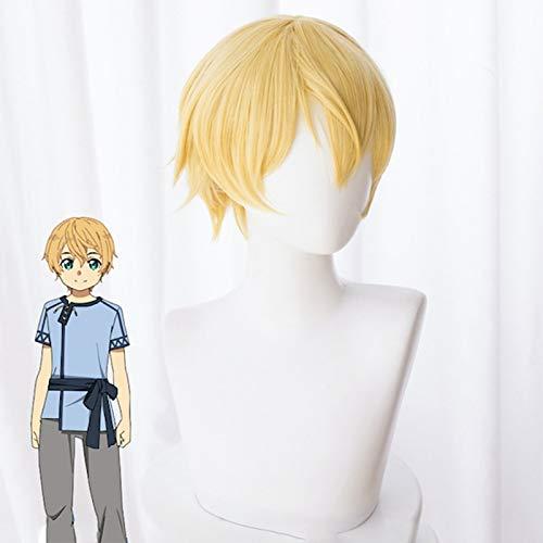 Anime Sword Art Online Alicization Sao Eugeo Cosplay peluca Eugeo Synthesis Thirty-Two amarillo claro pelo corto pelucas de disfraz esponjosas