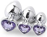 Juego de juguete de entrenamiento en forma de corazón B-ütt an-âl Pl-ùg de metal inoxidable 3 piezas púrpura