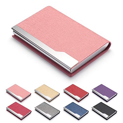 FACATH Business Card Holder Case - Luxury PU Leather Name Card Holder & Stainless Steel Multi Card Case, Slim Metal Pocket Card Holder Wallet Credit Card ID Case/Holder with Magnetic Shut - Pink