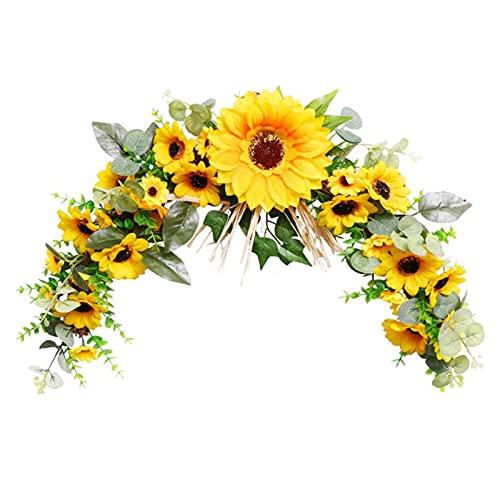 NGLSCXR Corona de girasol artificial corona de otoño afuera de la puerta frontal Simulación Sawfly Sunflower Guirnalda Guirnalda Sunflower Decoración-otoño Flores artificiales - Decoración de la puert