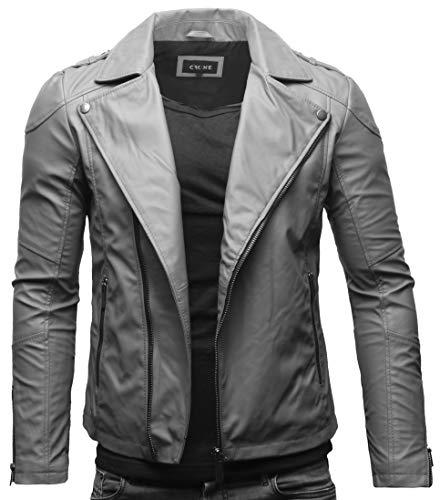 Crone Theo Herren Lederjacke Ecoleder Basic Biker Jacke aus weichem Rindsleder oder Ecoleder (S, Matt Grau (Ecoleder))