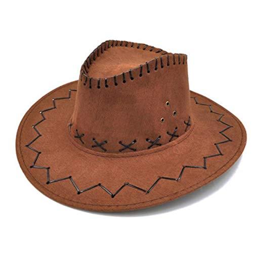 Viajes Niños del Vaquero Occidental Sombrero De Tela del Ante del Casquillo del Sombrero De Sun con La Correa para Niños Muchachas De Los Muchachos