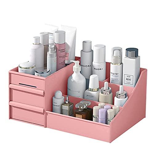 OsiliviA Rangement Maquillage Organisateur Maquillage,Plastique Rangement Maquillage Tiroi pour Commode, Chambre à Coucher, Salle de Bain Boite Rangement Maquillage(Pink)