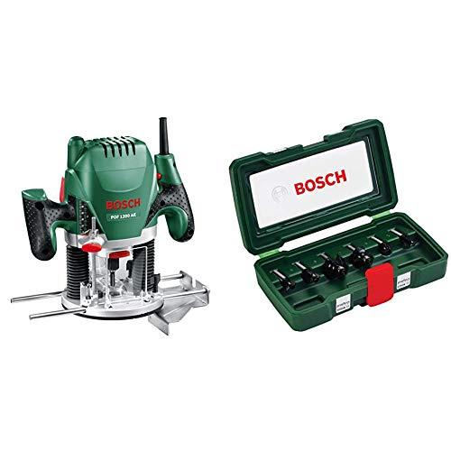 Bosch POF 1200 AE - Fresadora de superficie, fresa de ranurar, adaptador de aspirar, llave de boca,casquillo copiador, tope paralelo + Bosch 2607019463 - Set con 6 fresas con inserción de 8 mm